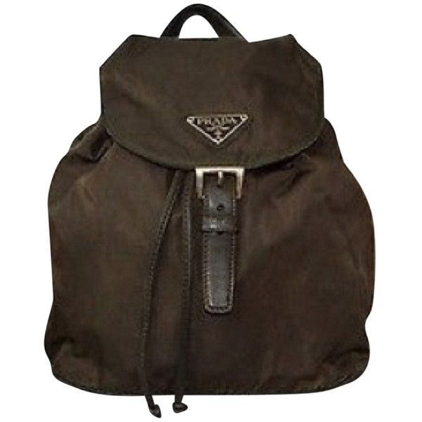 Pre-owned Prada Backpack (2.031.840 IDR) ❤ liked on Polyvore featuring bags, backpacks, deep brown, prada backpack, brown bag, pre owned bags, prada and day pack backpack