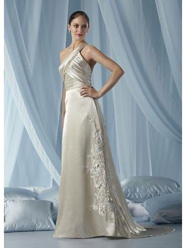 Charmeuse One-shoulder Ruffled Bodice Column Wedding Dress | Column ...