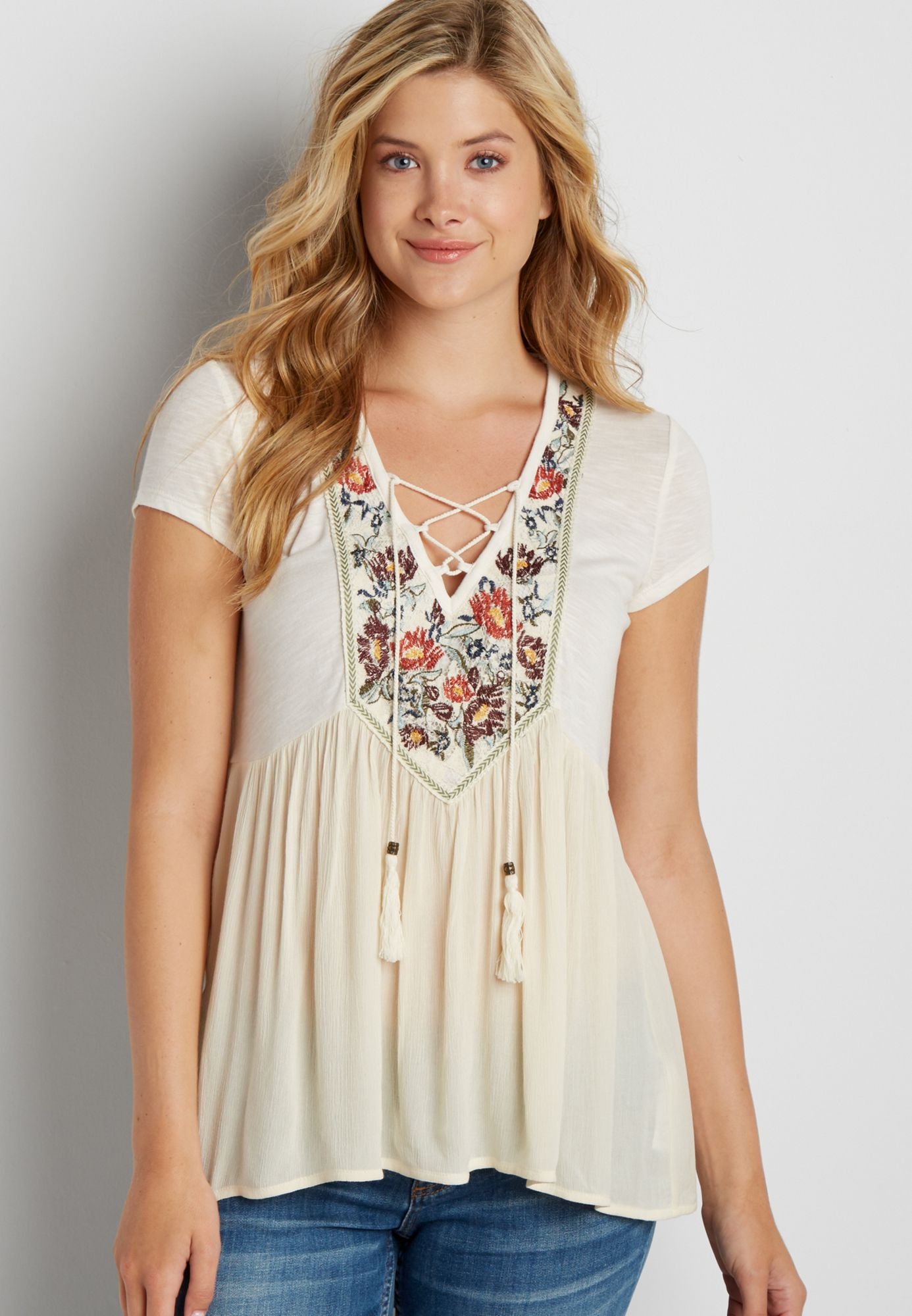 ba1509b6689 peasant top with floral embroidery and lace up neckline (original price