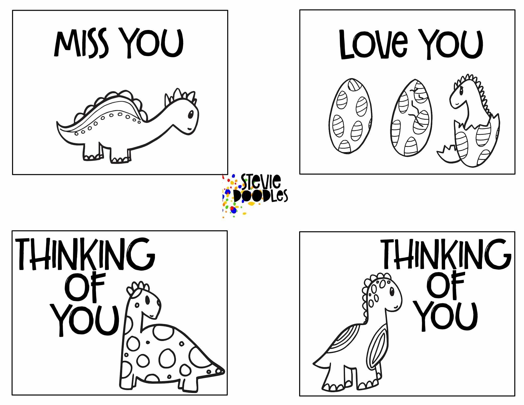 Thinking Of You 7 Pages Of Cards To Print And Color Stevie Doodles Free Cards To Print Free Printable Coloring Pages Free Kids Coloring Pages