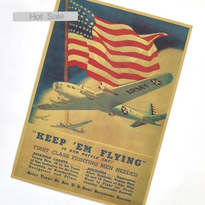 Vintage USA World War 2 ARMY Retro Wall 42x30cm Poster/Sticker Wall ...