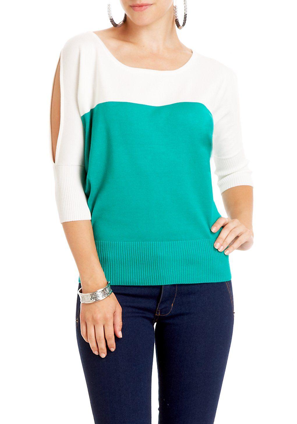 2b   Colorblock Cold Shoulder Sweater #17ShoppingInsider