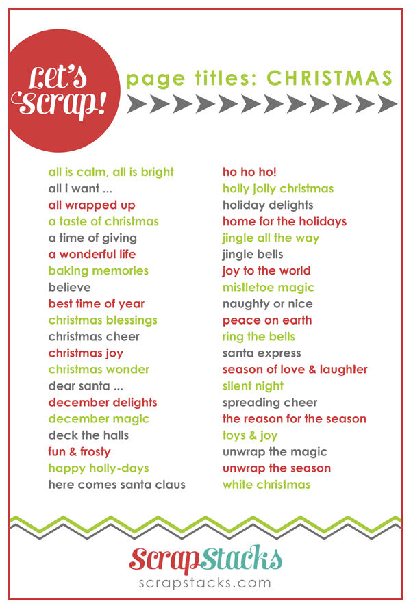 Let's Scrap! Christmas Page Titles