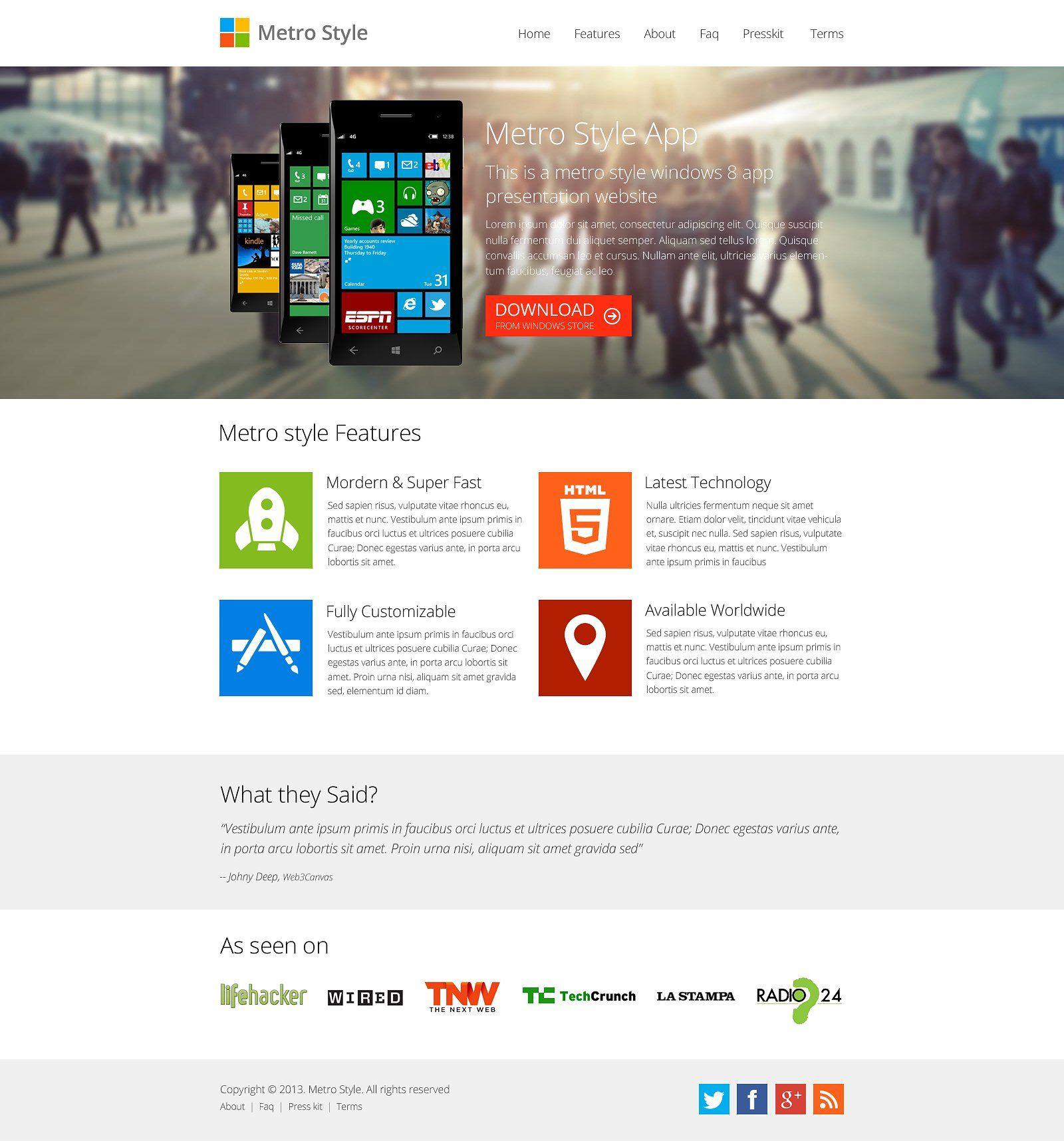 Metro Windows 8 App Showcase App, Website template