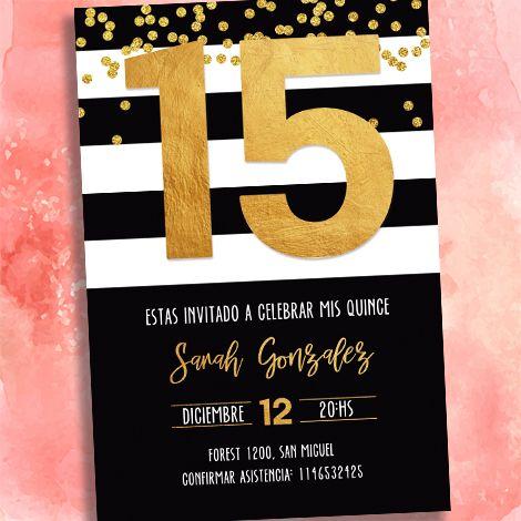 80484bc164 Tarjeta invitacion 15 años estilo blanco y negro rayado con dorado colores  a eleccion sobre perlado