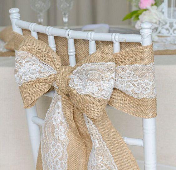 Faja de silla de arpillera con encaje cosido Arcos de banco Pew Shabby Chic Decoración de boda-Silla de boda rústica Fajas