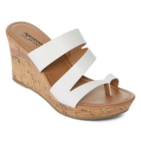 ceaed38b2 Arizona Cypress White Womens Wedge Sandals #Chappals #White&Brown #Casual  #WedgeHeels