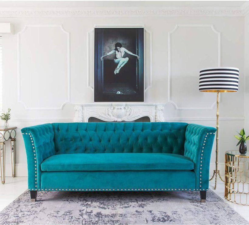 Nightingale Teal Blue Velvet Sofa Buttoned