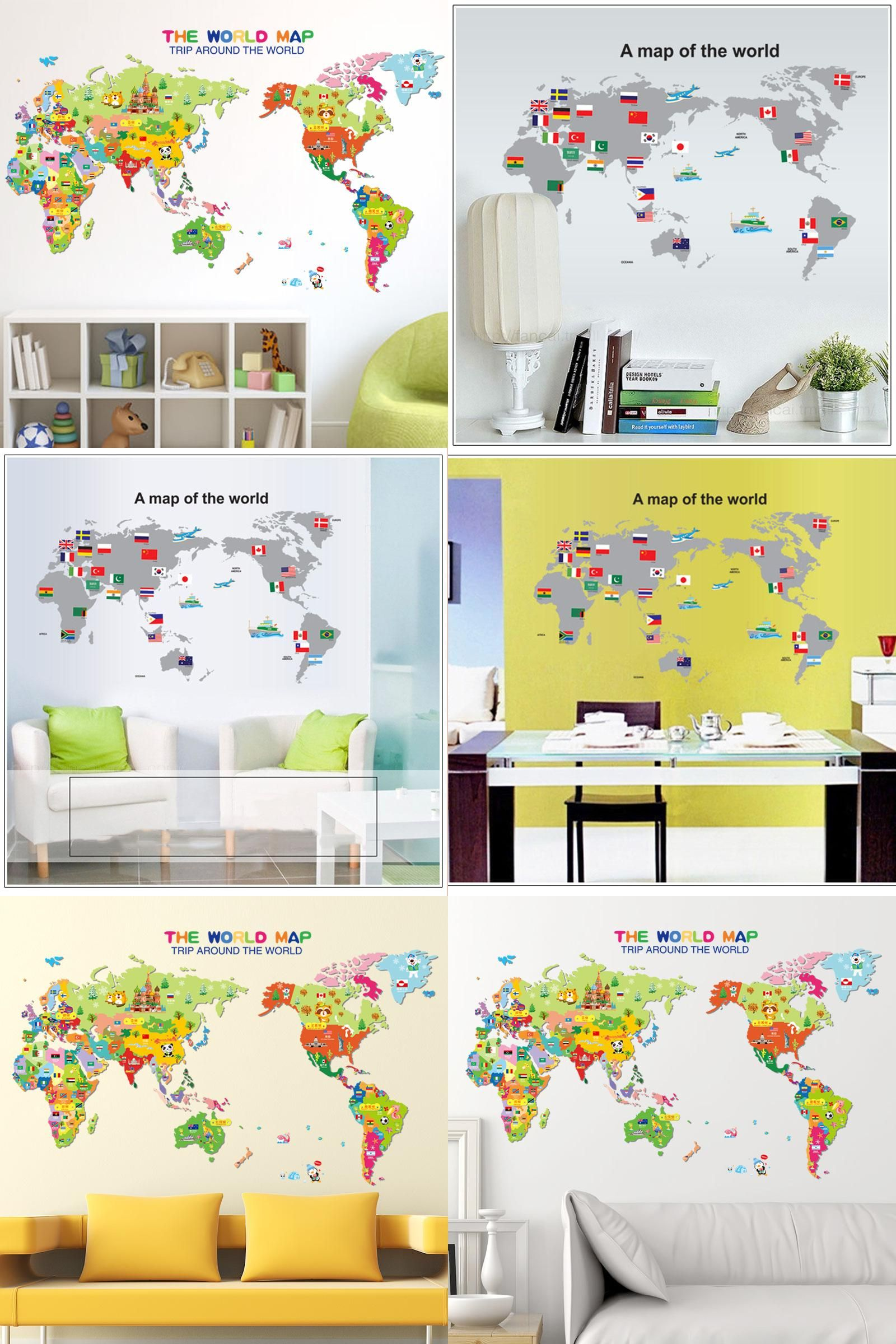 Visit to Buy] 2017 New The World Map Flag Sticker 3D DIY Vinyl Wall ...