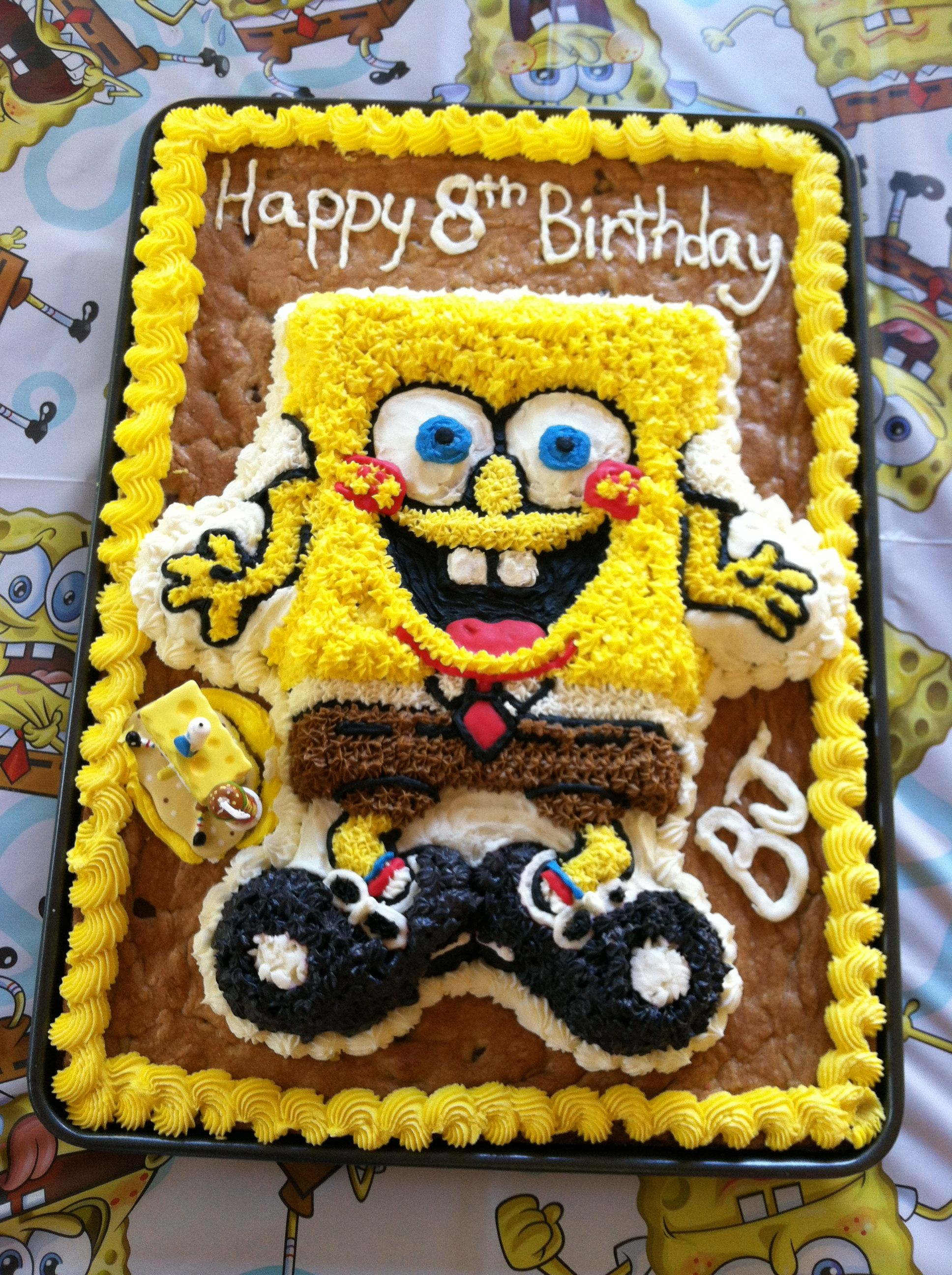 Sponge Bob cookie cake... Cookie cake, Cookie decorating