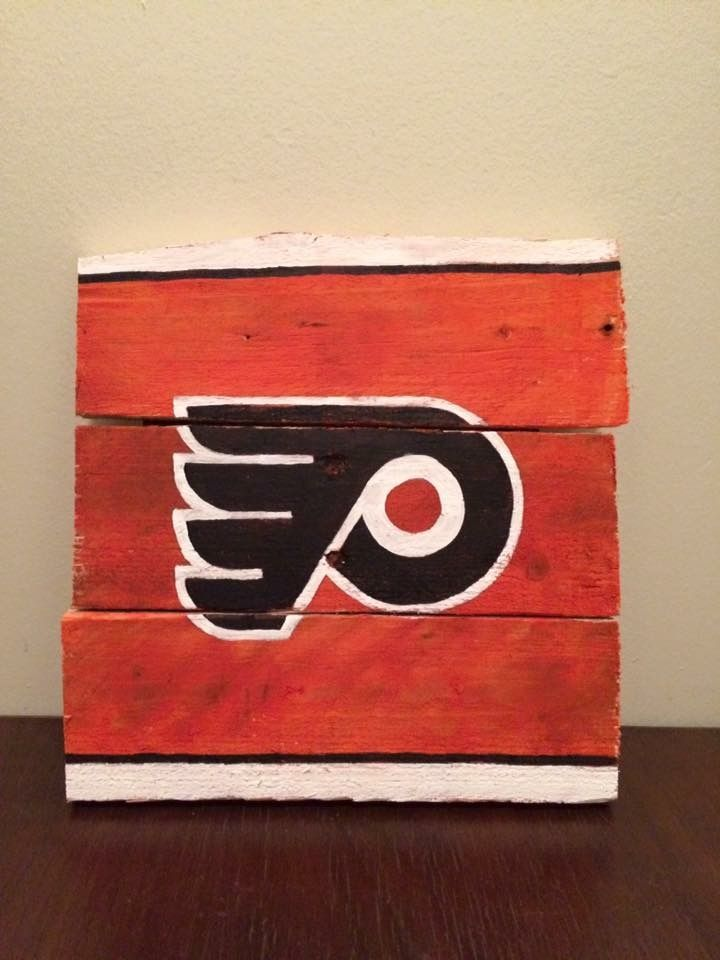 philadelphia flyers hockey team logo painted wood sign for man cave
