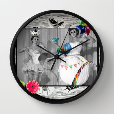 Hooping Homemakers with a blue fish (and other things) Wall Clock by mentalembellisher - $30.00