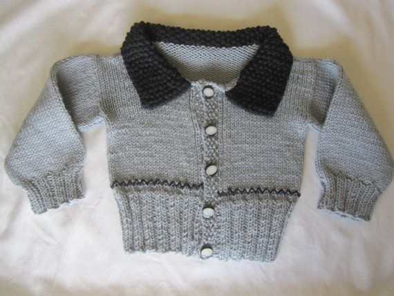 This is a handsome little cardigan, hand knit by me, with vintage buttons. It has a thick collar, knit with two strands of yarn for extra warmth. The