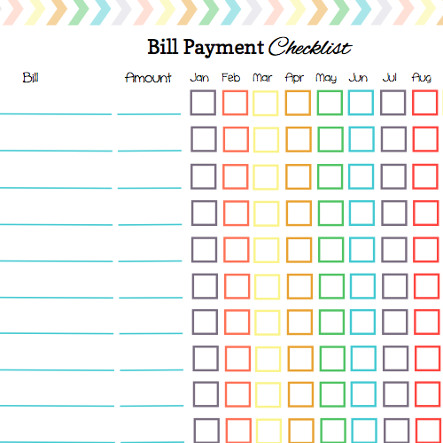 Declarative image regarding free printable bill payment schedule