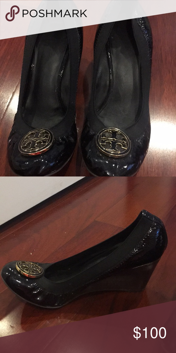 3039ea50b89817 Tory Burch Wedge Work Heels Tory Burch black patent leather work wedges  size 8 Tory Burch Shoes Heels