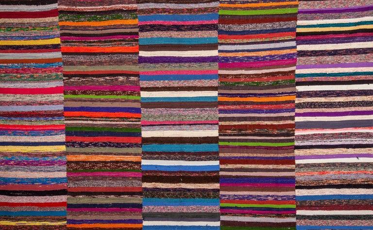 Vintage Anatolian Large Rag Rug Mid 20th Century Rag Rug Multicolored Rugs Tribal Rug