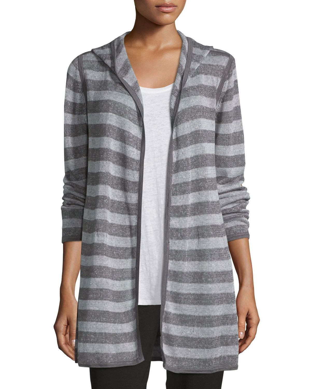 Hooded Two-Tone Striped Cardigan, Ash/Dark Pearl, Petite