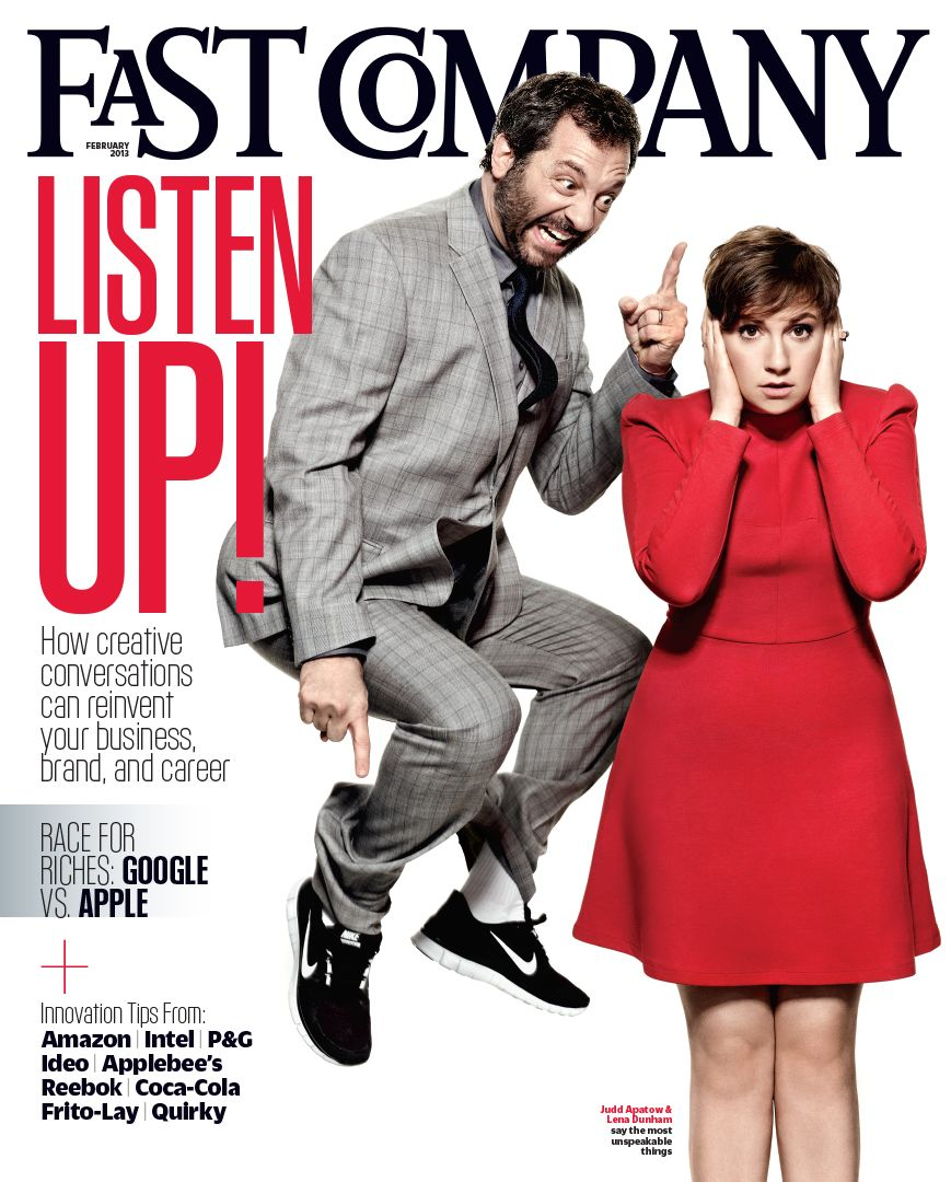 Art Streiber photographs Lena Dunham and Judd Apatow for Fast Company cover story