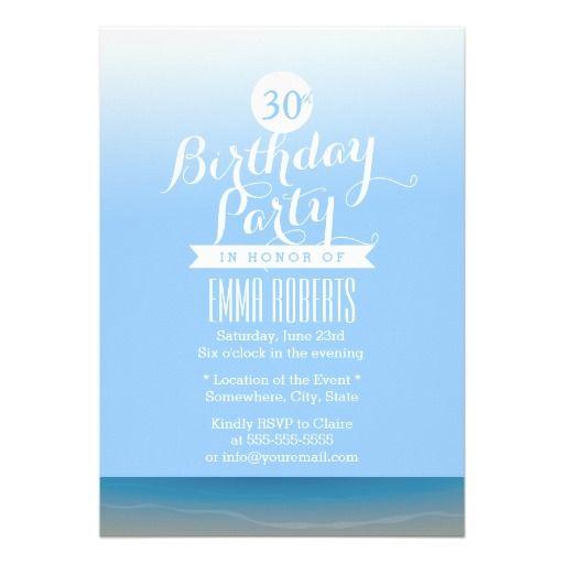 Blue Sky Beach Theme Birthday Party Invitation Zazzle Com