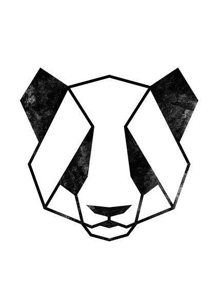 Geometric Animal, Panda Art, Panda Print, Panda Decal ...