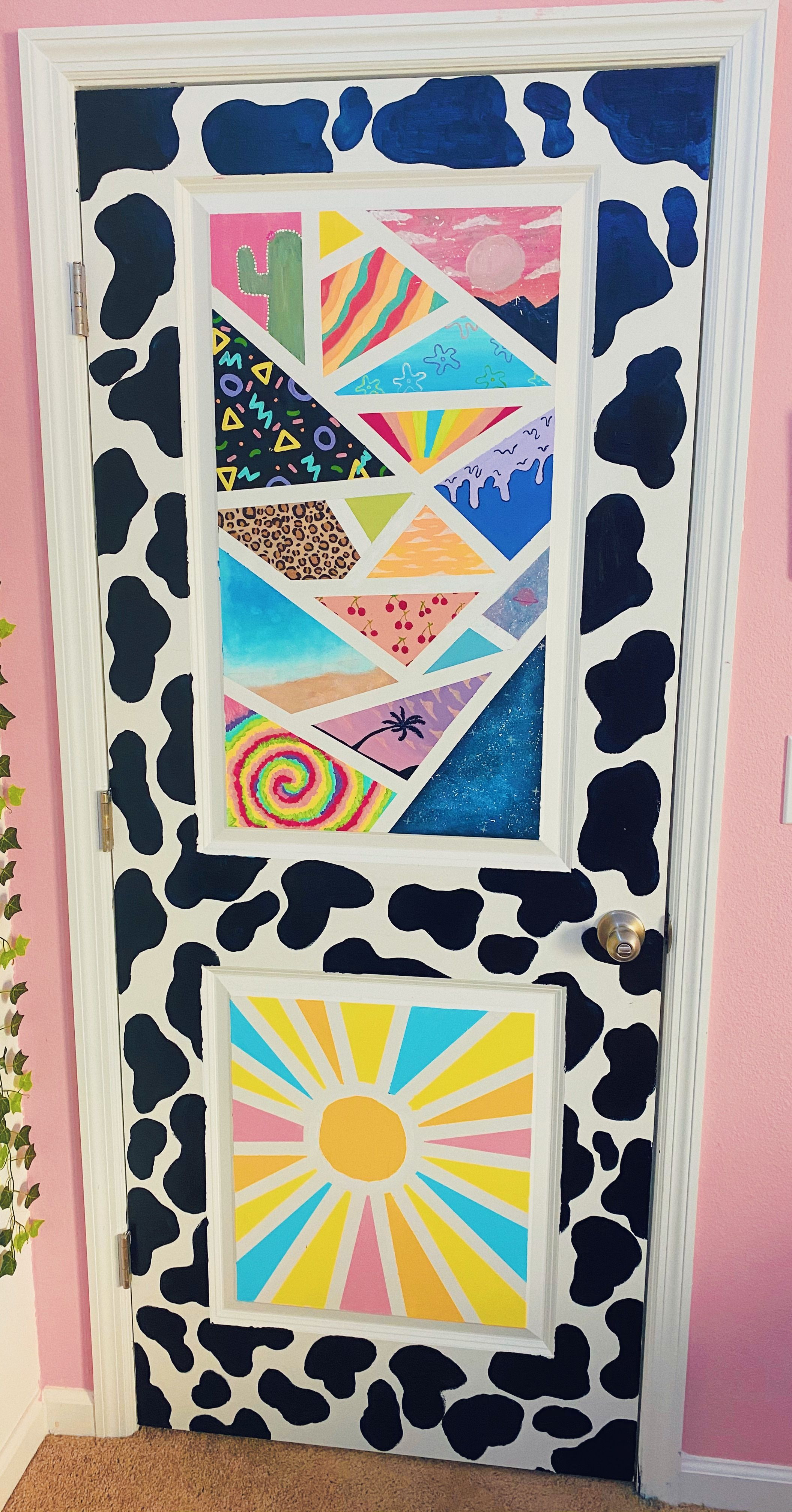 Cow Print Painted Door in 2020 Butterfly art painting