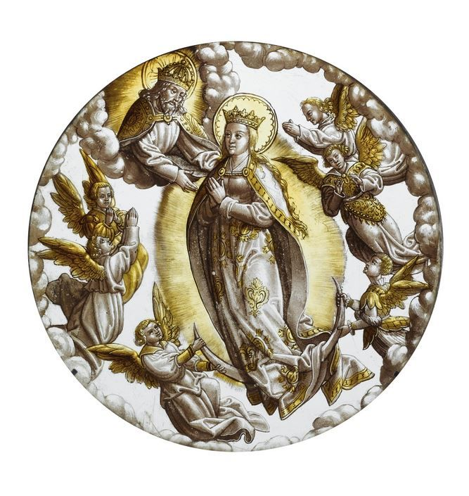 A Flemish Silver Stained glass Roundel with the coronation of the Virgin, first half 16th century. | © 2015 Sotheby's