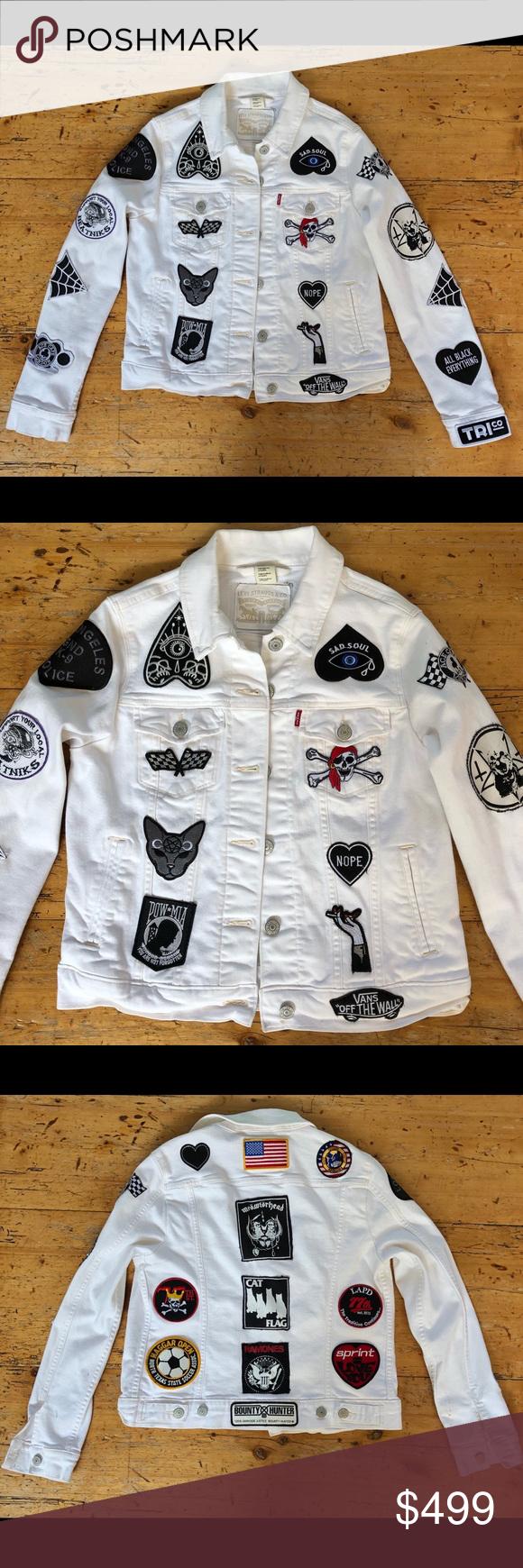 White Denim Levis Jean Jacket Covered In Patches White Denim Jacket Levis Jean Jacket White Denim [ 1740 x 580 Pixel ]