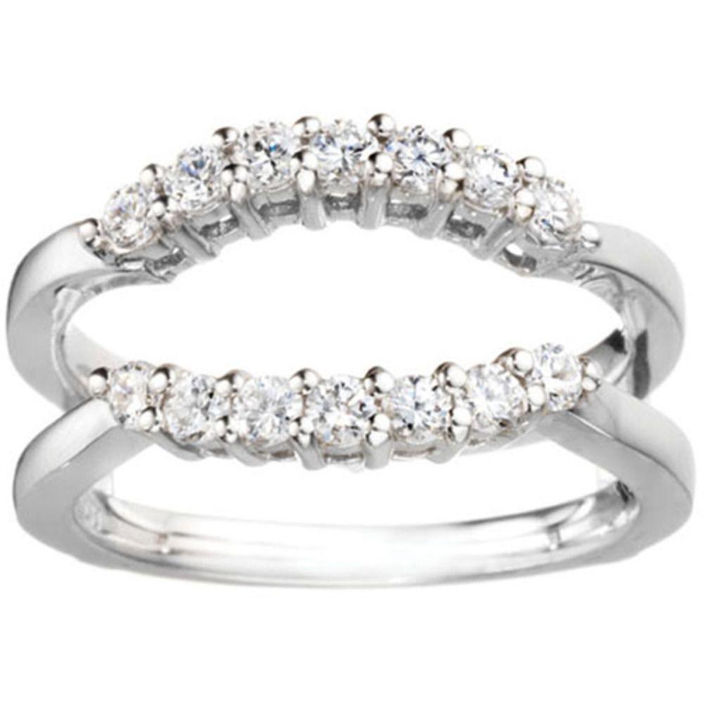 Miadora signature collection 14k white gold 1ct tdw diamond double row - Platinum 1 3ct Tdw Diamond Double Shared Prong Contour Ring Guard