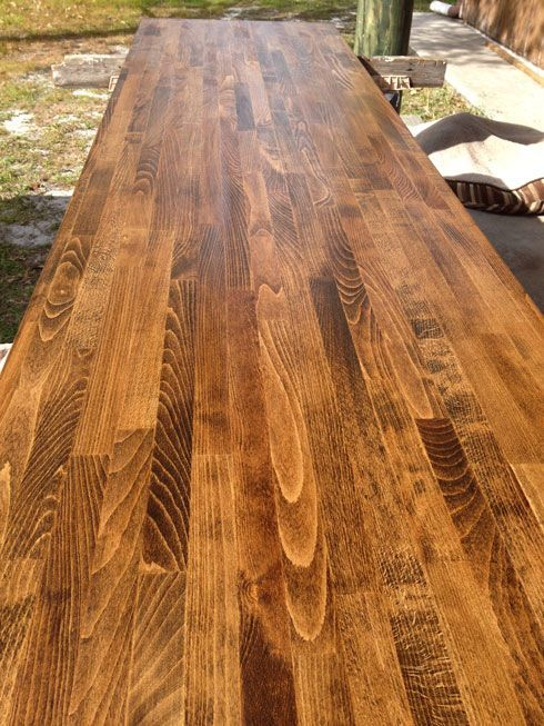 Dark Walnut On Ikea Birch Butcher Block And Sealed With
