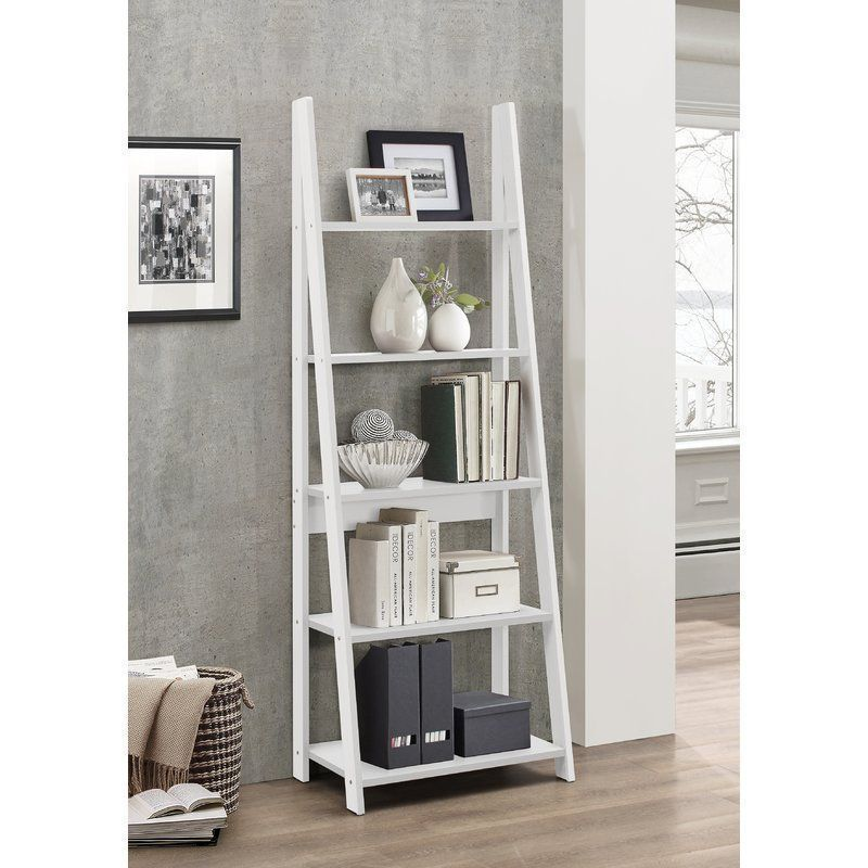 Wooden Ladder Bookcase White 5 Bookshelf Open Back Living Room Office Furniture Ladder Shelf Decor Shelves In Bedroom Bookcase