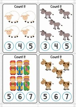Christmas Nativity Preschool Centers. A page from the unit: count and clip it cards