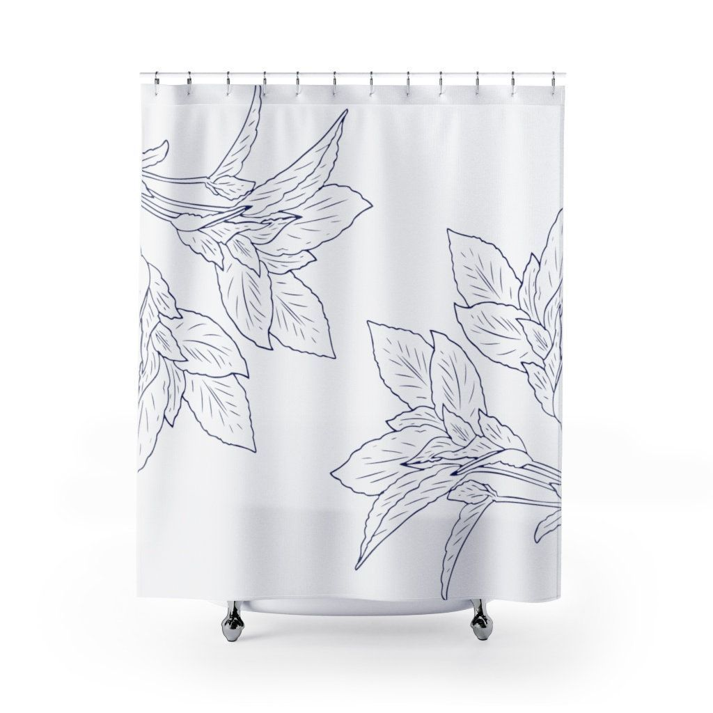 Leafs Farmhouse Shower Curtain Long Modern Boho Navy Blue White
