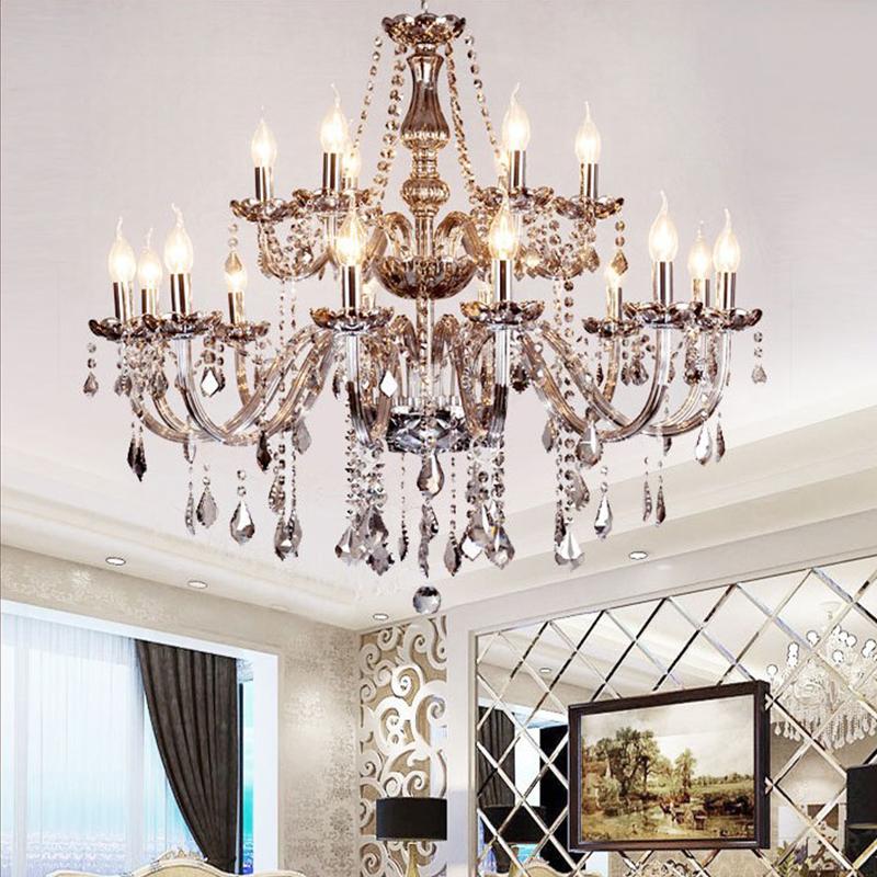 Large European Crystal Chandelier Elegant Pendant Light Bedroom