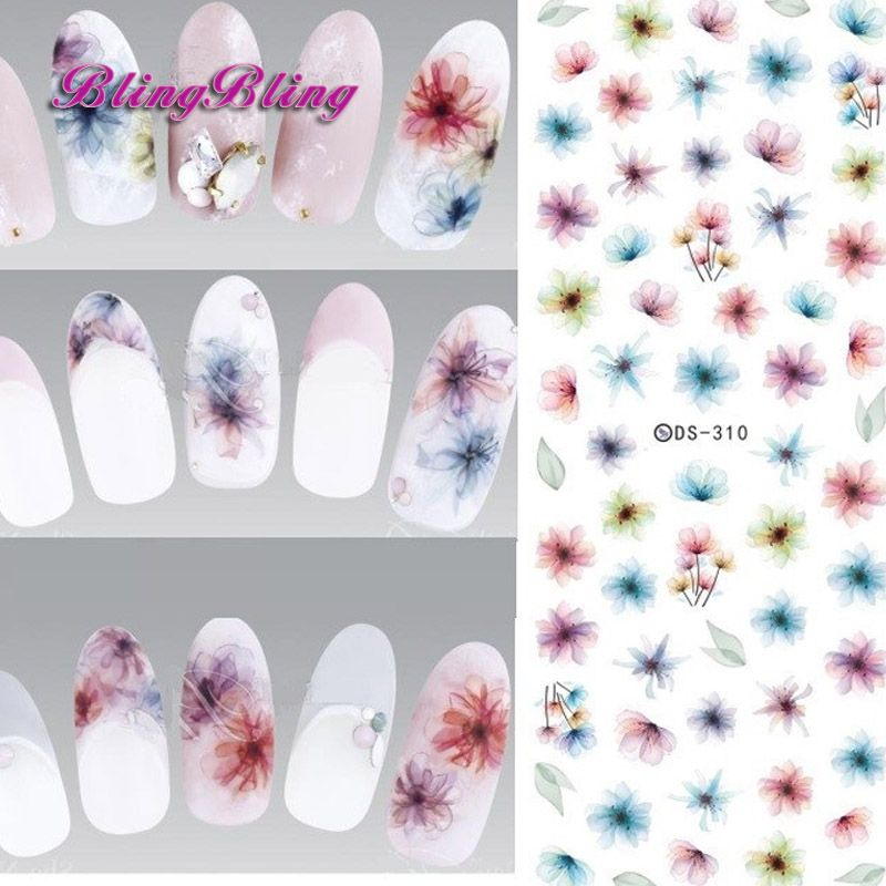 꽃 네일 스티커 데칼 하라주쿠 화려한 판타지 burred floral 디자인 물 전송 호일 랩 매니큐어 손톱