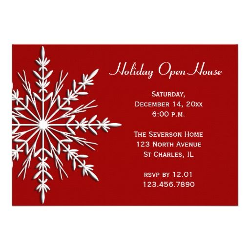 on Red Holiday Open House Invitation