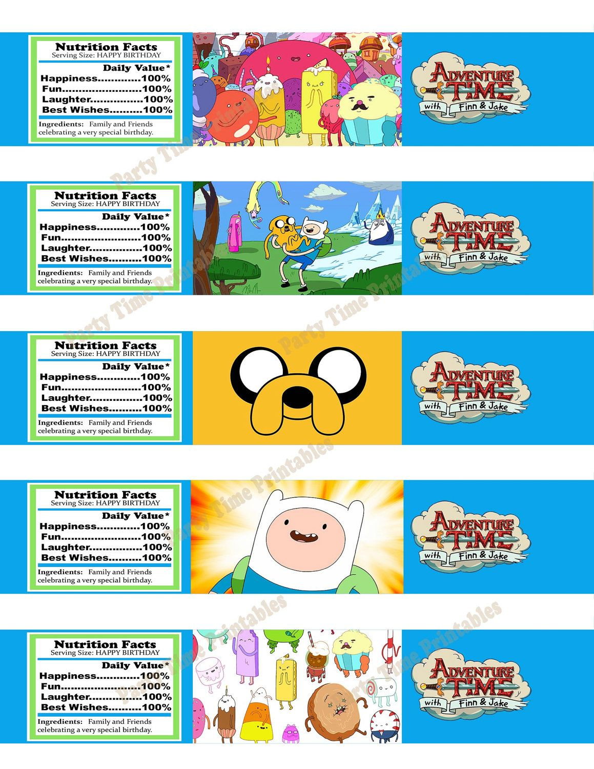 Printable Water Bottle Label- Party Printables - Adventure Time 5 ...