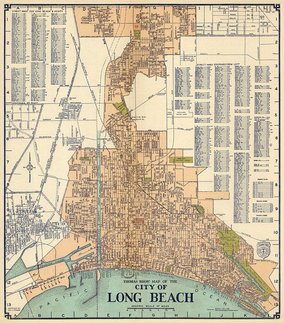 Old map of Long Beach - Vintage city plan restored, wall map ... Map Of Long Beach Ca on