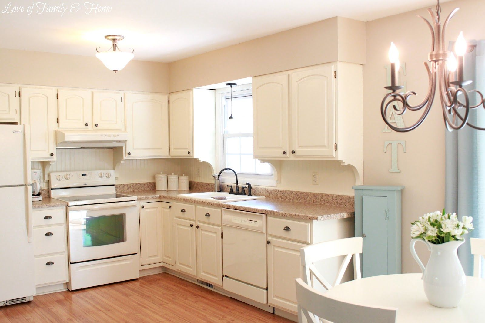 Beadboard Backsplash Kitchen with painted cupboards and