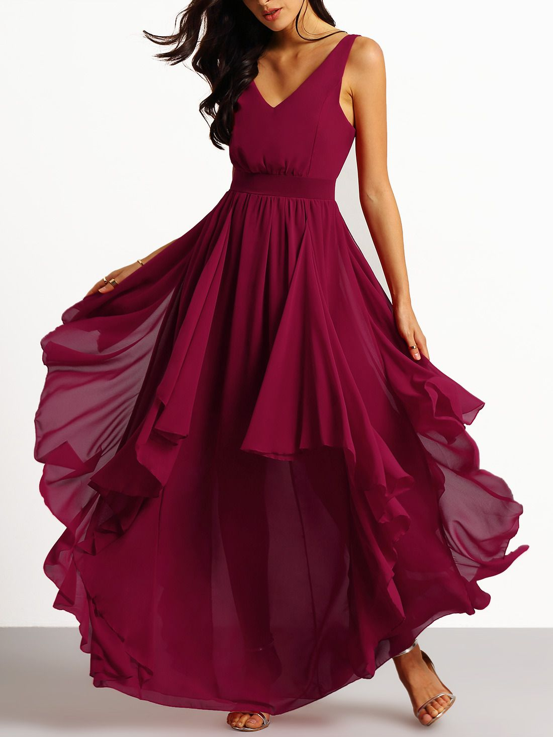 Shop Burgundy Deep V Neck Maxi Chiffon Dress Online Shein