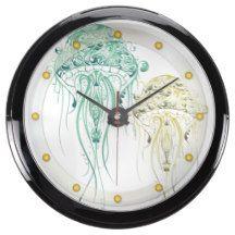 Jellyfish in Sea Green - Aqua Clock 2