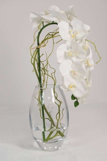 White Orchid Curly Willow In Vase By Creative Displays Faux