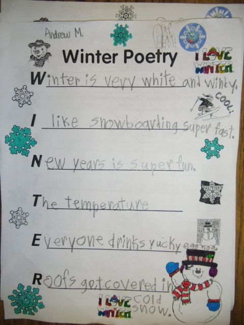 PATTIES CLASSROOM: Winter Acrostic Poems and Snowflake Snowman Art ...