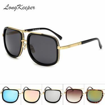 438a167b0ad54 LongKeeper Men s Sunglasses New Vintage Oversized Frame Goggle Summer Style Brand  Designer Sun Glasses Gafas De