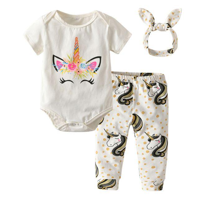 96925ee2e Ropa para bebés recién nacido 3 piezas ropa conjuntos de algodón de dibujos  animados unicornio Rompers + Pants + Headband niños niño trajes