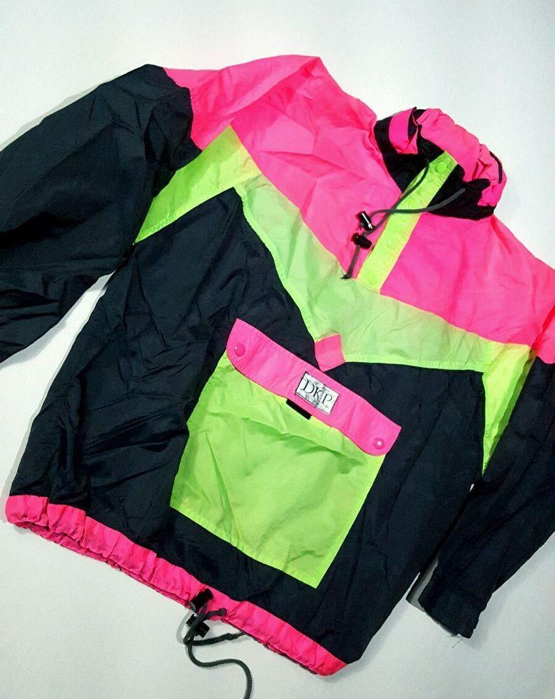 a89d43f6c Neon Windbreaker track Jacket D.K.P Nylon Pullover Coat Size L Coller Pouch  Hood #DKP #Casual