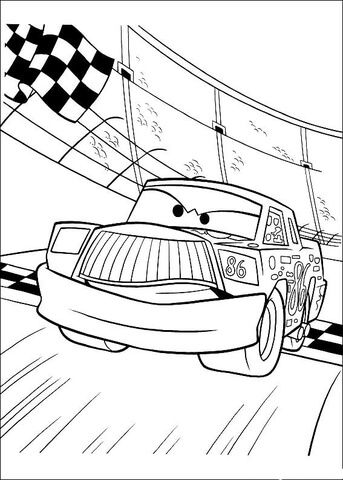 Chick Hicks crosses the finish line coloring page from Disney Cars ...