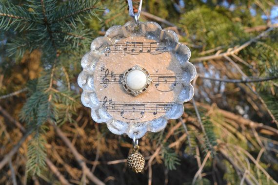 set of 3 Christmas ornaments made out of by TheBeautifulBarn, $15.00