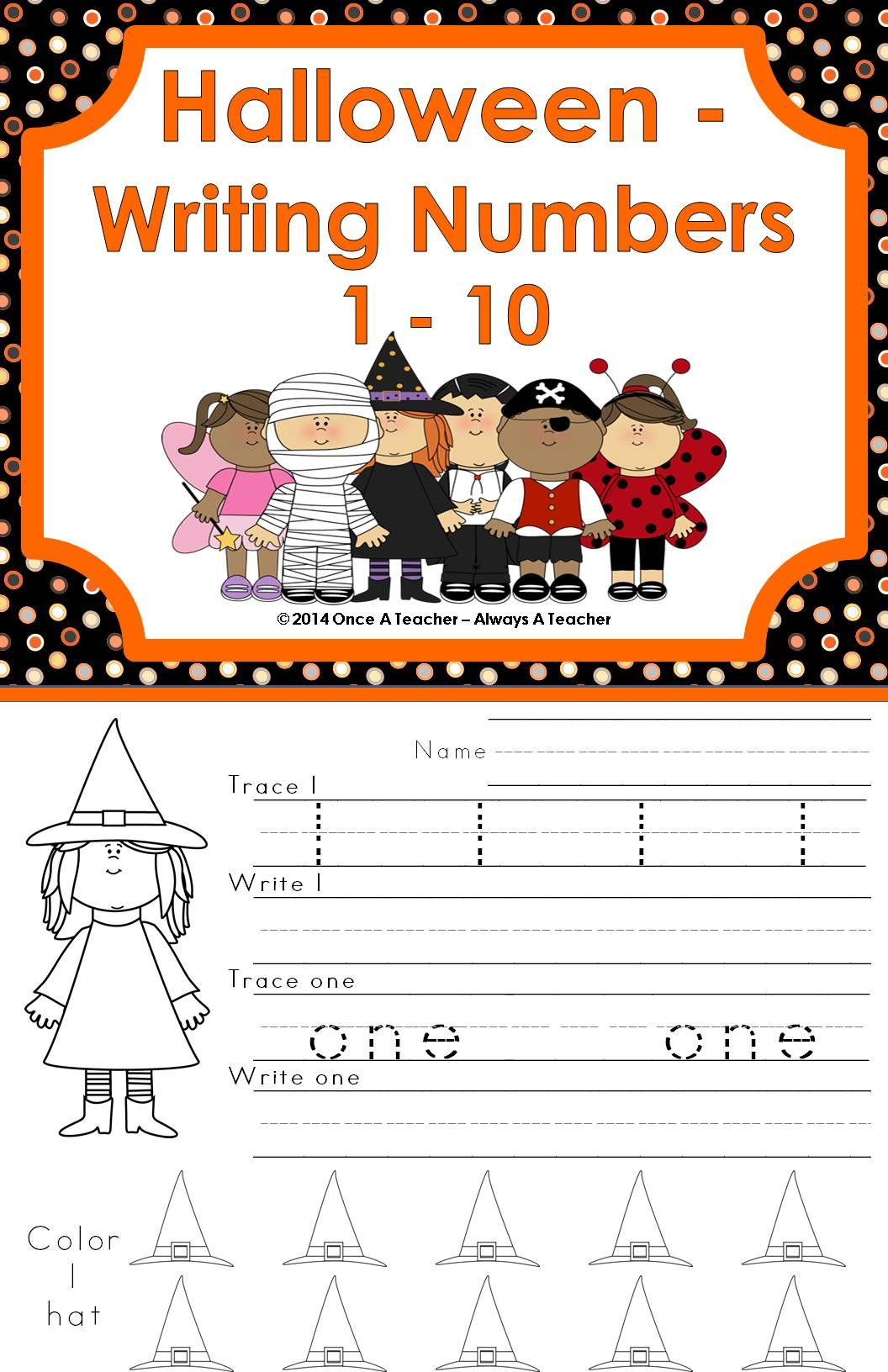 Writing Numbers 1 10 Halloween
