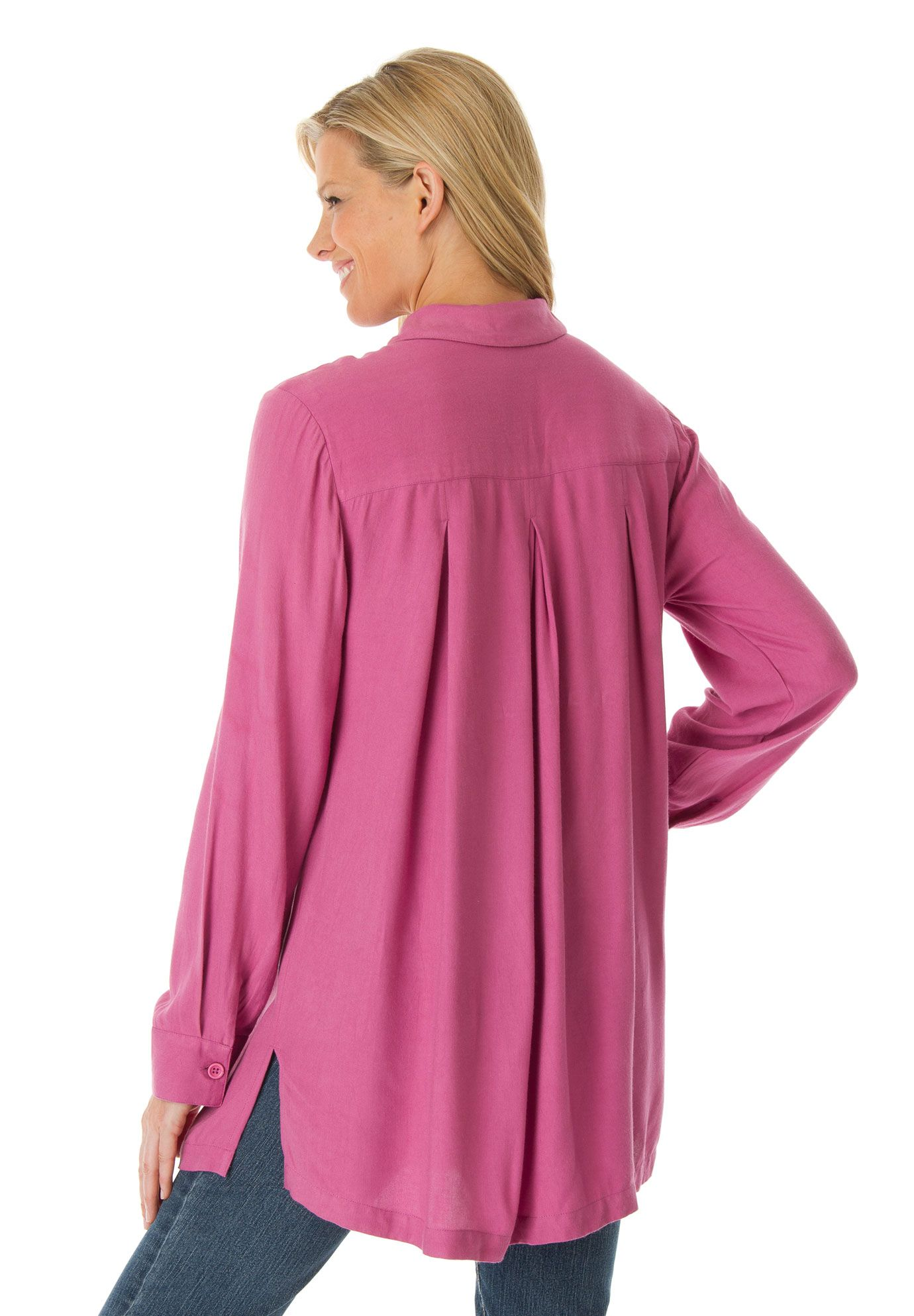 bb0732401 Tunic shirt with long sleeves, pleated back yoke for fullness | Plus Size  New Arrivals | Woman Within