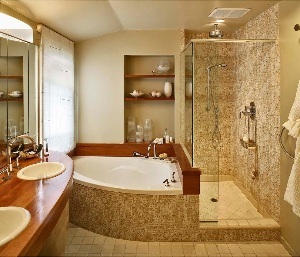 Corner Tub Shower Combo Bathroom Contemporary with Bathroom Lighting ...
